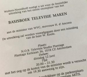 Uitnodiging boekpresentatie Basisboek televisie maken - 1990